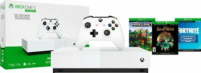 $209.99 • Buy Microsoft Xbox One S 1TB White All Digital Console With 3 Game Bundle -Disc Free