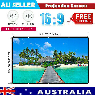 AU26.54 • Buy 100  84  72  60  Projector Screen Portable Outdoor Home Cinema Matte White 16:9