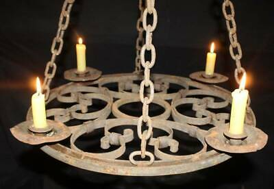 Antique Candle Chandelier Early 20c Wrought Iron Gothic Style Ceiling Light  • 149£