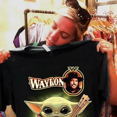 $9.98 • Buy Baby Cute Yoda Hug Guitar Waylon Jennings Shirt Gift Fan Funny Tshirt S-5XL