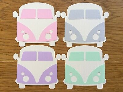 4x Campervan Card Toppers Die Cut Papercraft Embellishment Birthday Transport • 2.49£