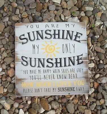 Shabby Vintage Chic You Are My Sunshine Nursery Playroom Sign Plaque 8x8 • 8.99£