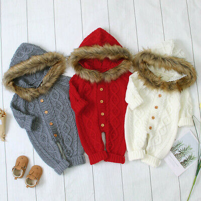 AU32.61 • Buy Winter Baby Boys Girls Sweater Hooded Knit Faux Fur Collar Warm Jumpsuit Clothes