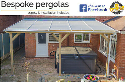 £1 • Buy Timber Supported Lean To Roof EVA, Pergola, Carport - VARIOUS SIZES - QUOTES