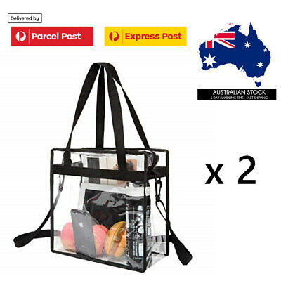 AU18.95 • Buy Clear Tote Bag With Zipper 2pc Set Crossbody Messenger Shoulder Stadium Approved