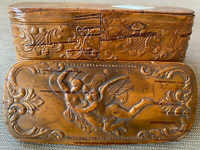 £252.06 • Buy Hand Carved Wooden Snuff Box Cupids Man Lady Nude Angels Antique European Hinged