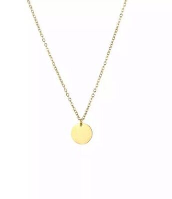 Gold Disc Coin Pendant Stainless Steel Link Chain Necklace UK Seller • 3.49£
