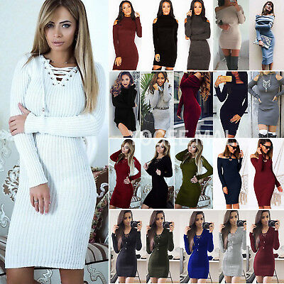 AU27.79 • Buy Womens Knitted Jumper Dress Winter Stretch Bodycon Sweater Party Mini Dresses AU