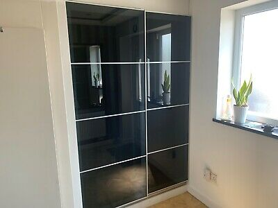 Ikea Pax Large Double Wardrobe With Black Glass Sliding Doors • 169.99£
