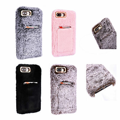 Soft Warm Plush Fluffy Phone Case Cover Comfy Faux Fur For IPhone XR 6s 7 8 Plus • 4.99£