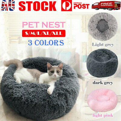 AU32.99 • Buy Pet Dog Cat Calming Bed Warm Soft Plush Round Nest Comfy Sleeping Kennel Cave OZ