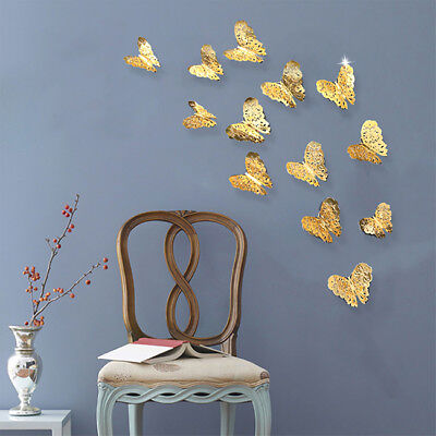 AU1.75 • Buy 12pcs 3D Hollow Butterfly Art Decal Home Decor DIY Party Wall Stickers Decor YO