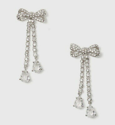 $ CDN65.99 • Buy Kate Spade New York Pearly Glow Bow Crystal Chandelier Drop Earrings Silver Tone