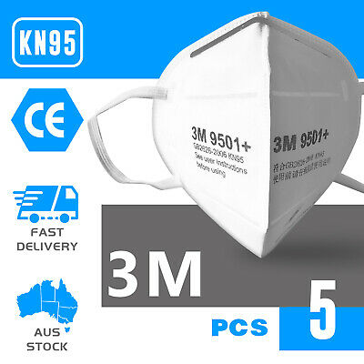 AU49 • Buy 5PCS 3M 9501+ Face Mask KN95 Anti Dust Flu Protection Respirator Mask AU STOCK