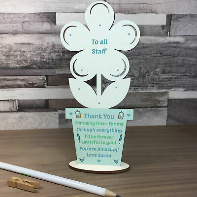 Gift For Hospital Staff Personalised Wood Flower Thank You Gift Nurses Doctors • 4.99£