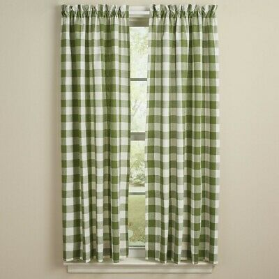 $44.95 • Buy Sage Green Cream Wicklow Panel Curtains Buffalo Check Country Farmhouse 72Wx63L
