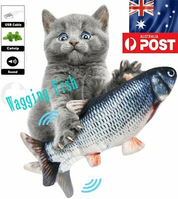 AU13.99 • Buy Electric Cat Wagging Fish Toy Catnip Realistic Plush Simulation Fish Kids Toy