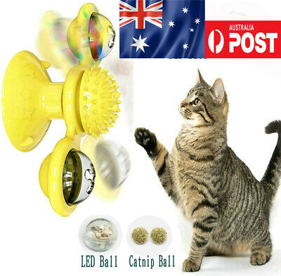 AU16.99 • Buy Windmill Cat Toy Kitty Turntable Interactive Toy Scratch Hair Brush