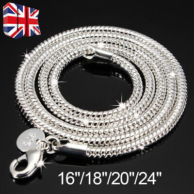925 Silver Sterling 3mm Solid Snake Chain 16/20/24 Inch Necklace Pendant 3mm HOT • 3.09£