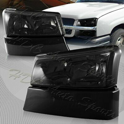 $81.99 • Buy For 03-06 Chevy Silverado Avalanche 1500 2500 Smoke Headlights W/Clear Reflector