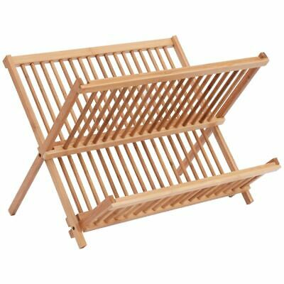 £12.74 • Buy Wooden Wood Kitchen Dish Plate Drying Drainer Draining Board Rack Stand Holder