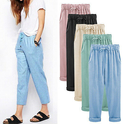 Womens High Waisted Trousers Paper Bag Cigarettes Cropped Capri Pants Plus Size • 11.20£