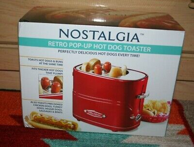 $24.50 • Buy Nostalgia Retro Pop-Up Hot Dog Toaster - Red (HDT600RETRORED) NWT In Box