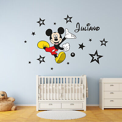 Mickey Mouse Personalised Name Stars Disney Wall Art Stickers Murals Decals • 9.99£