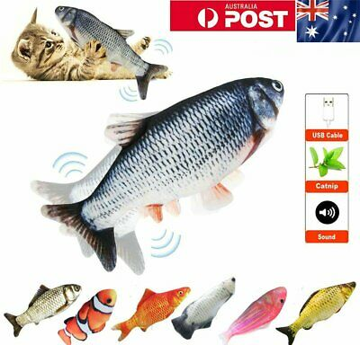 AU15.99 • Buy Electric Wiggle Fish Catnip Cat Toy Or Kid Toy Realistic Plush Simulation Fish