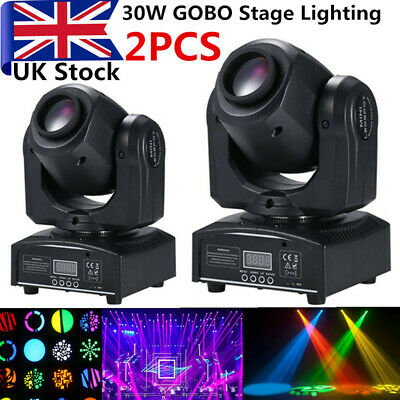 2PCS 30W GOBO Stage Lighting Spot RGBW LED Moving Head DMX Disco Party Light UK • 134.99£