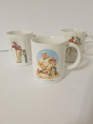 $ CDN13.80 • Buy *LOT Of 3* Norman Rockwell 1987 Coffee Mugs Fishing Theme Vintage Museum