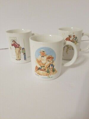 $ CDN13.18 • Buy *LOT Of 3* Norman Rockwell 1987 Coffee Mugs Fishing Theme Vintage Museum
