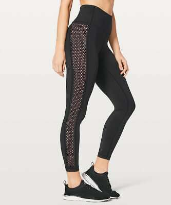 $ CDN69 • Buy NEW Lululemon Women's Train Times Crop 17  Leggings  BLACK/FLASH LIGHT TONE