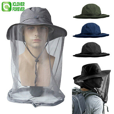$14.99 • Buy Outdoor Mosquito Head Net Hat Fishing Hunting Wide Brim Cover Sun Protection Cap