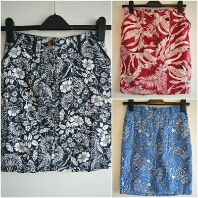 £9.99 • Buy New Next Linen Blend Skirt Red Navy Blue Floral Paisley Summer Plus Size 8 - 26