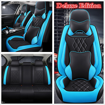 $ CDN179.37 • Buy Car Seat Cover Cushion 5-Seats Front Rear Mat Full Set PU Leather With Pillows
