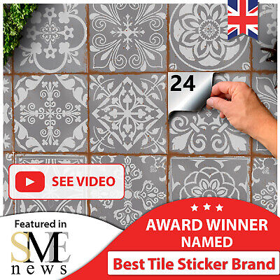 24 Grey Tile Stickers Moroccan Victorian Mosaic Tile Transfers 6x6 Tile Covers • 7.99£