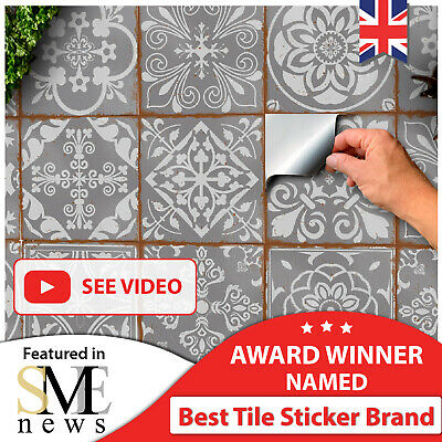£3.99 • Buy Kitchen Tile Stickers Bathroom Tile Stickers 15x15 Grey Tile Stickers 6x6 Mosaic