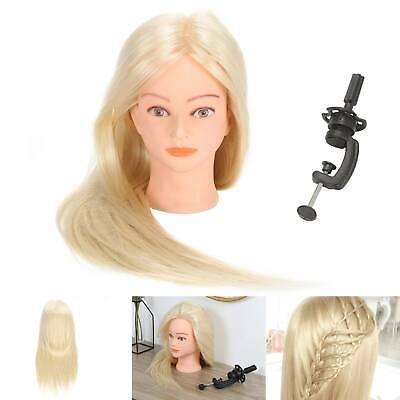 Hairdressing Styling Mannequin Doll Salon Real Human Hair Training Hair  + Clamp • 15.19£