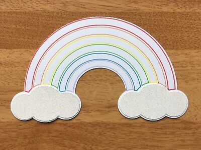 4x Large Rainbow Card Toppers Die Cut Scrapbook Embellishment Birthday Baby • 2.49£