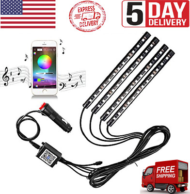 $21.99 • Buy LED RGB Floor Strip Lights With Music Changing Wireless Light Remote Control US