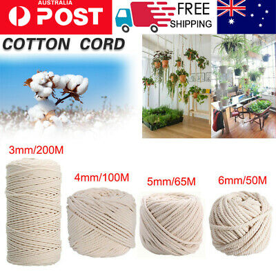 AU17.68 • Buy 3/4/5/6MM Macrame Rope Natural Cotton Twisted Cord Artisan Hand Craft 50-200M