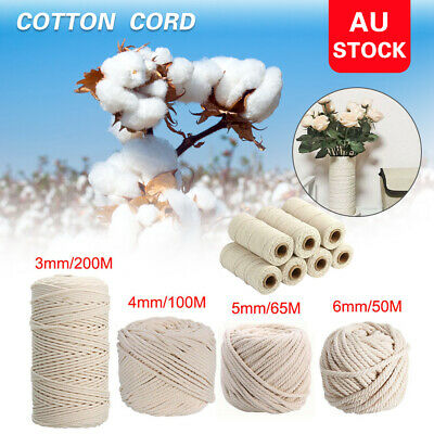 AU17.68 • Buy 2/3/4/5/6mm Macrame Rope Natural Beige Cotton Twisted Cord Artisan Hand Craft AU