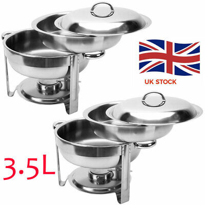 2 PC 3.5L Stainless Steel Chafing Dish Party Cater Food Warmer Buffet Stoves UK • 42.99£