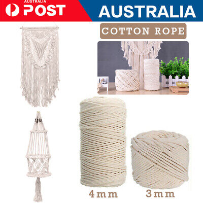 AU13.80 • Buy 3/4/ MM Macrame Rope Natural Cotton Twisted Cord Artisan Hand Craft 50-200M AU