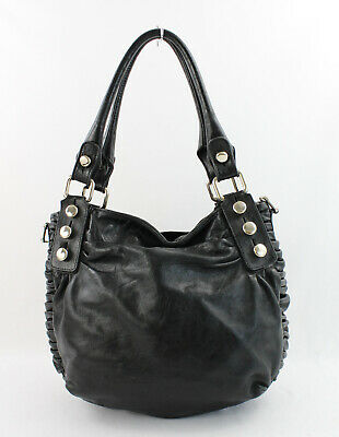 $39 • Buy Treesje Black Leather Silver Toned Studded Ruched Side Shoulder Bag Handbag