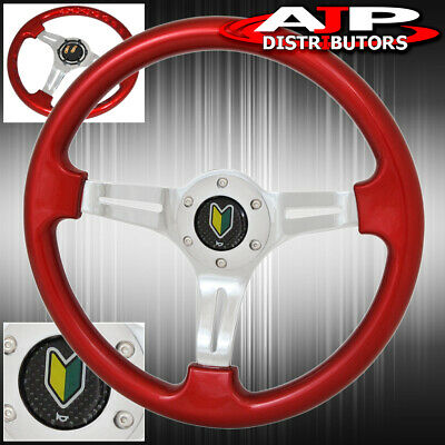 $ CDN65.96 • Buy Universal 6 Bolt Hole Red Steering Wheel 1.75 Inch Deep Dish Streak Wakaba