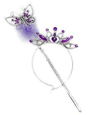 Butterfly Princess Fairy Wand And Tiara Girls Wand Ribbons Fancy Dress Plastic  • 2.98£