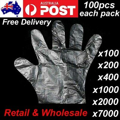 AU17.99 • Buy 100pcs Disposable Plastic Gloves Transparent Food Handling Hygienic Clear