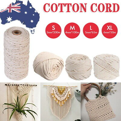 AU17.50 • Buy 3/4/5/6mm Natural Cotton Rope Cord String Twisted Beige Craft Macrame Artisan AU